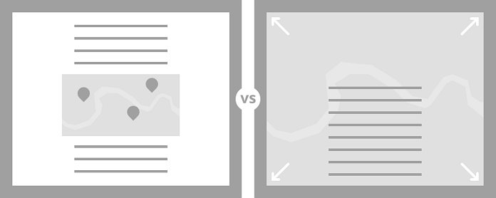 Comparing a map used as embedded media versus one used as a critical design element.