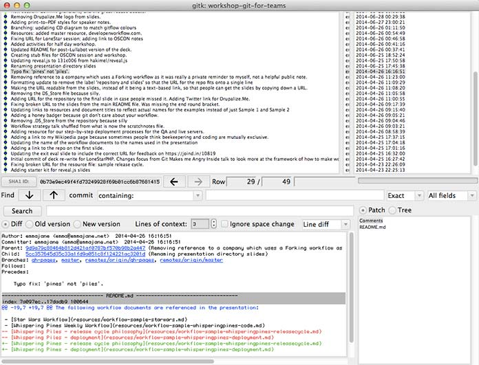 Screenshot of the gitk repository browser.