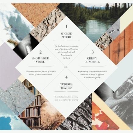 Image of a magazine layout using rhombic shapes.