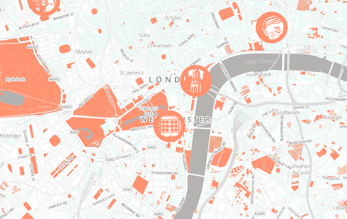 Web map with illustrations.