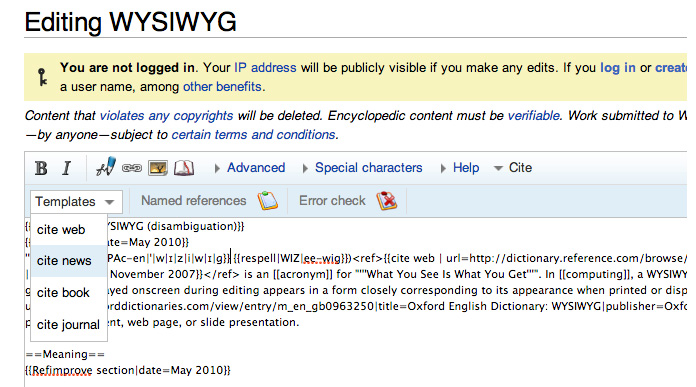Screenshot of Wikipedia's custom rich-text editor, with assistive tools for Wiki-specific markup