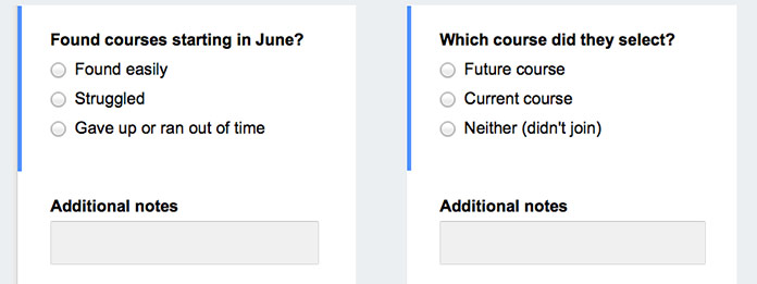 Two sample evaluator questions: Found courses starting in June? (options: found easily, struggled, or gave up or ran out of time), and Which course did they select? (options: future course, Current course, or Neither (didn't join)).