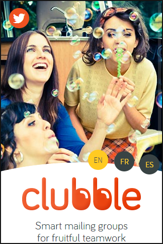 Clubble mailing groups mobile home page