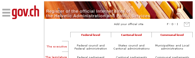 Government of Switzerland home page, English version