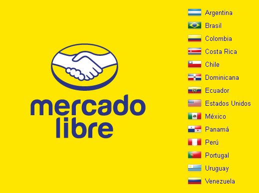 Mercado Libre country selector with flag icons