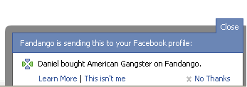 Screen capture of a Beacon opt-in message notifying the user that Fandango is sending purchase information to Facebook.