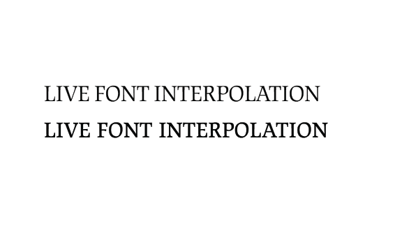 "Comparison of the headline ""LIVE FONT INTERPOLATION"" set in the text version and the display version of the JAF Lapture font, illustrating how the display version reads better visually."