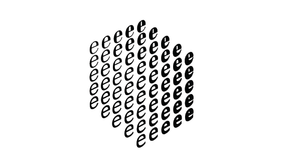 Diagram of a three-dimensional cube of e letters showing how the appearance of the e can be changed gradually.