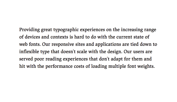 """Comparison of the headline """"A paragraph typeset in the text version of JAF Lapture, illustrating how the text version reads better."""