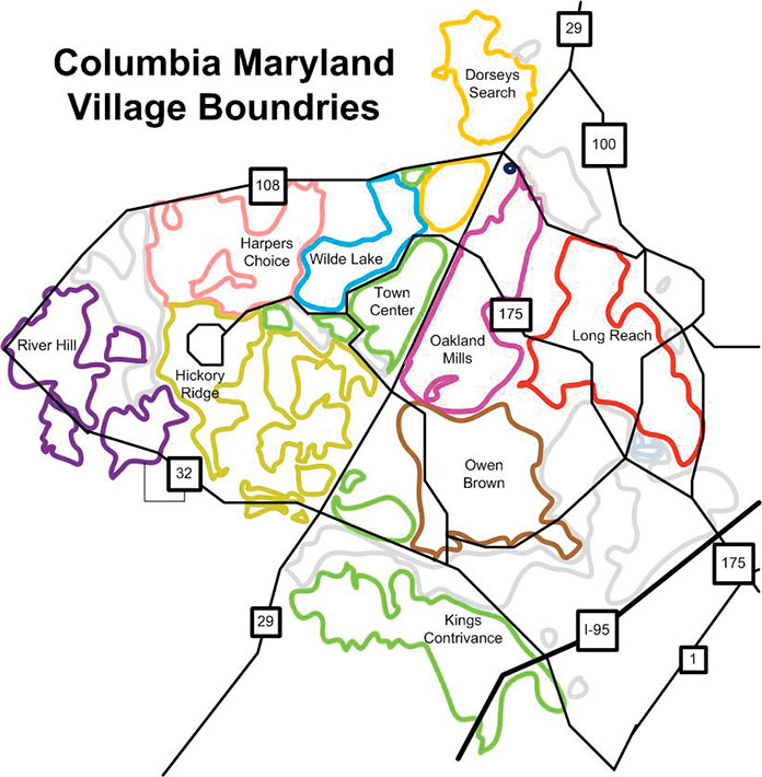 Map showing the neighborhoods of Columbia, Maryland.