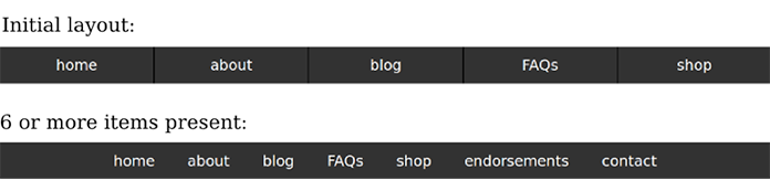 Comparing the initial menu bar layout for fewer than six items with the layout for six or more items
