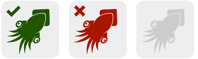 A key for the three squid symbols to be used in following diagrams. A green squid (for selected elements), a red squid (for unselected elements) and a grey squid for elements that don't exist
