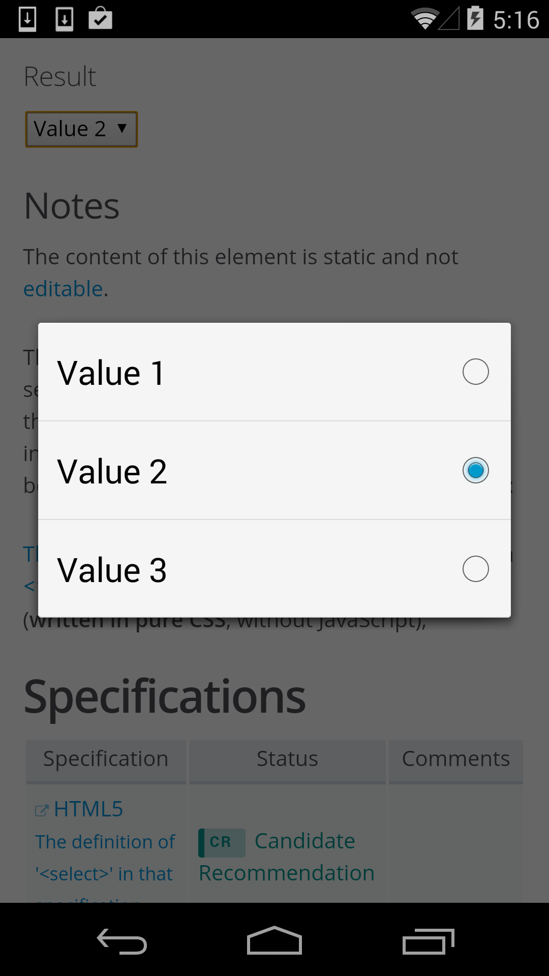 Android's Native Dropdown Interface