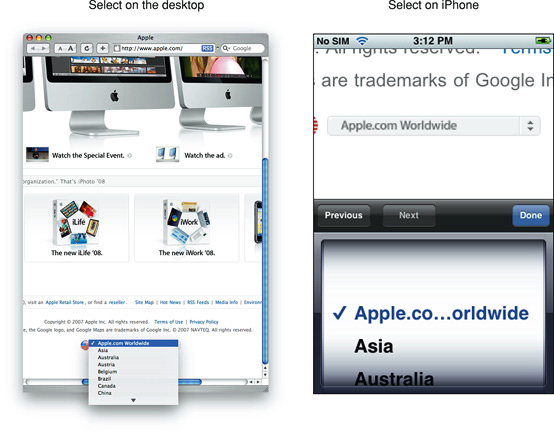 The Various Dropdown Interfaces of Apple Devices