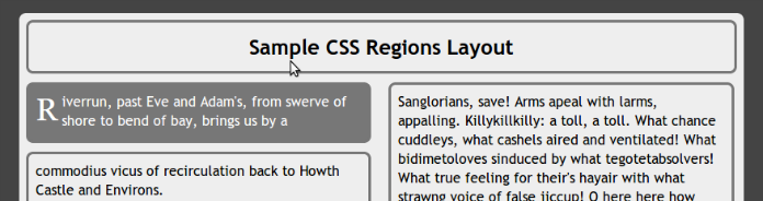 top of the CSS Region sample document