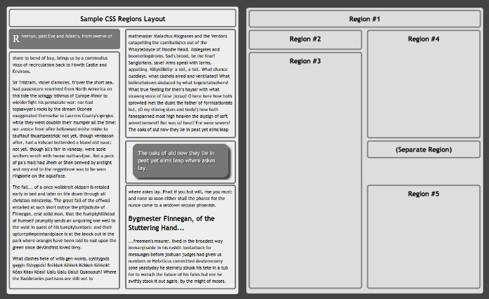 a sample document with columns of text and a view of the CSS region layout
