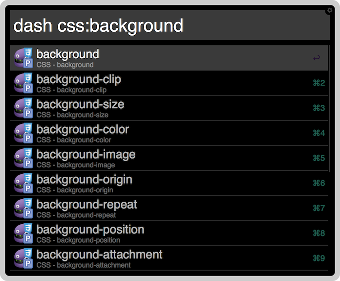 "A CSS-focused Dash search for ""background"" using Alfred."