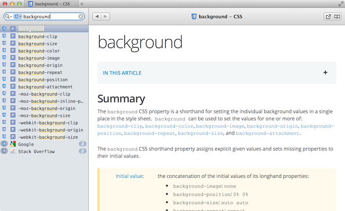 "A CSS-focused Dash search for ""background""."