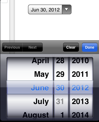 The iOS Date picker