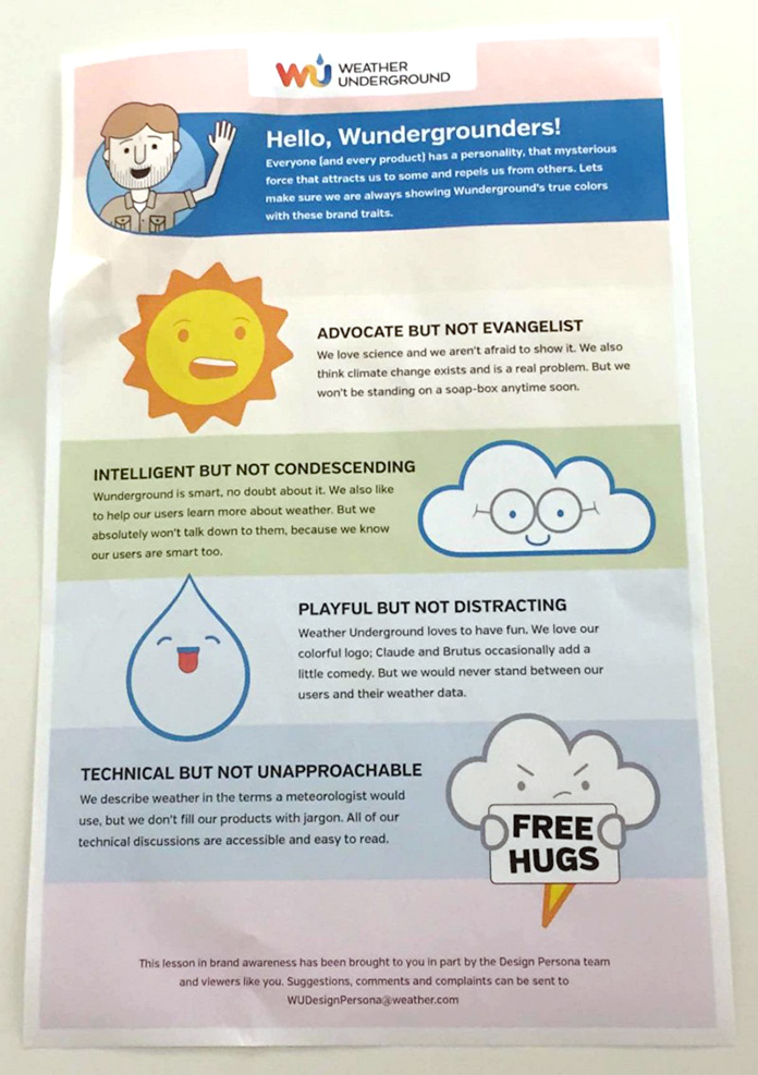 Photo of a poster explaining Weather Underground's brand traits for internal staff.