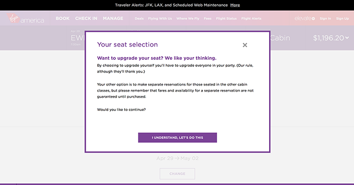Screenshot of a modal dialog from the Virgin America site.