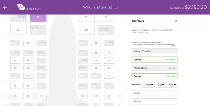 Screenshot from the Virgin America site showing the UI text—'Hey there'—that pops up after a user enters their first name.