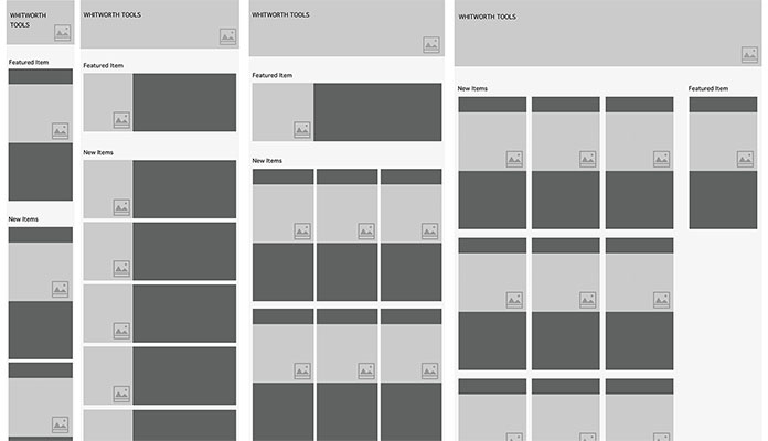 Wireframes showing four widths of a basic product page layout.