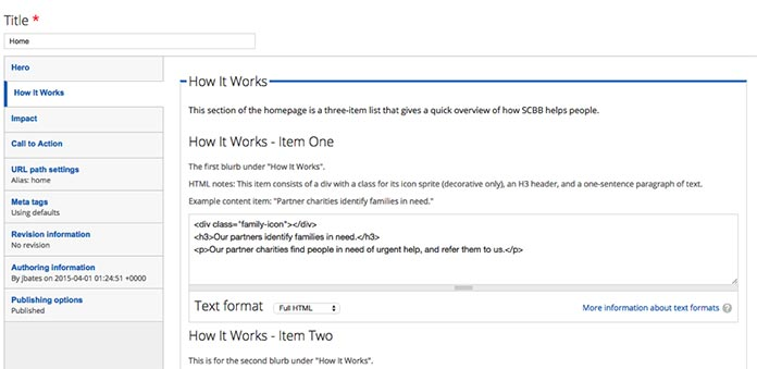 A close-up screenshot of the CMS homepage edit form, open to the How It Works tab.