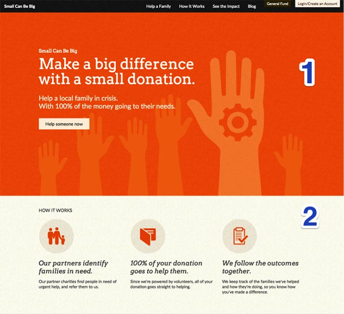 A screenshot of the Small Can Be Big homepage, showing the first two sections of the design.