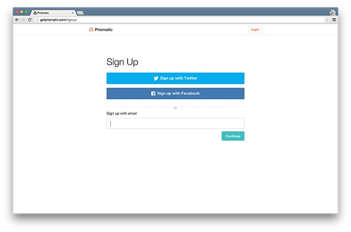 Screenshot of Prismatic's signup form, showing a choice of social login buttons or email signup.