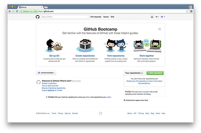 Screenshot of the final screen in GitHub's onboarding process, showing four additional steps users can take to start using the service.