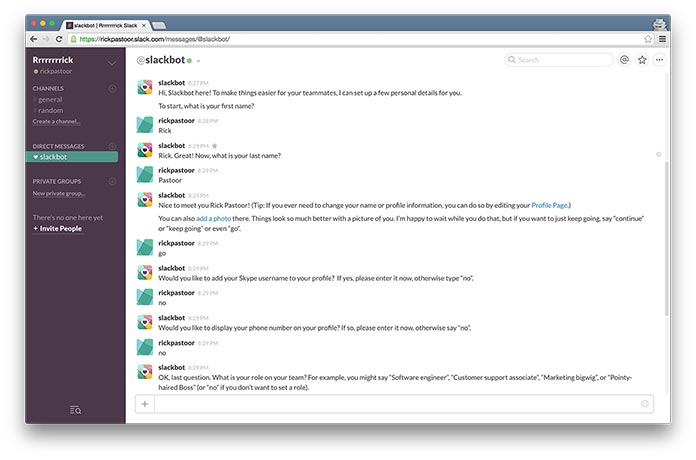 Screenshot of a chat window with Slackbot, Slack's interactive onboarding tutorial.