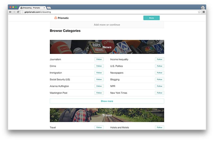 Screenshot of Prismatic's interest-selection stage in their onboarding process.