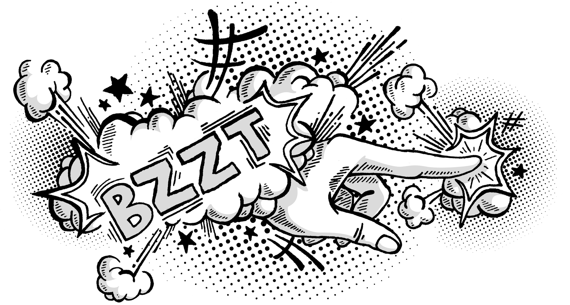 Illustration of a hand pointing with many symbolic noises surrounding it.