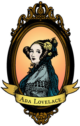 A woodcut image of Ada Lovelace.