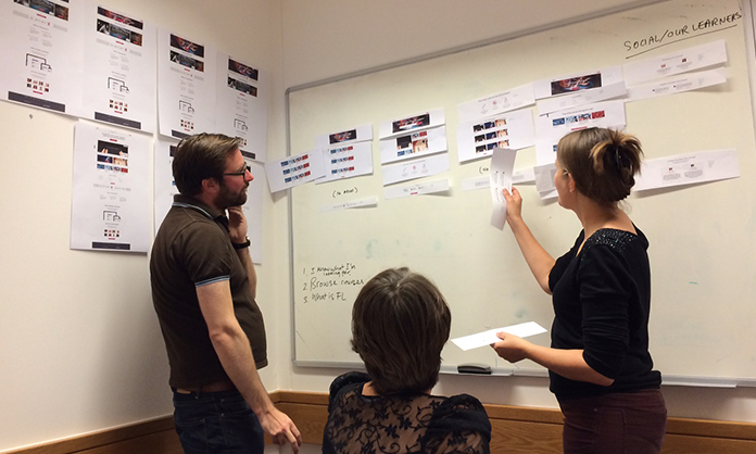 Photograph of the team at FutureLearn organizing modules into comps.