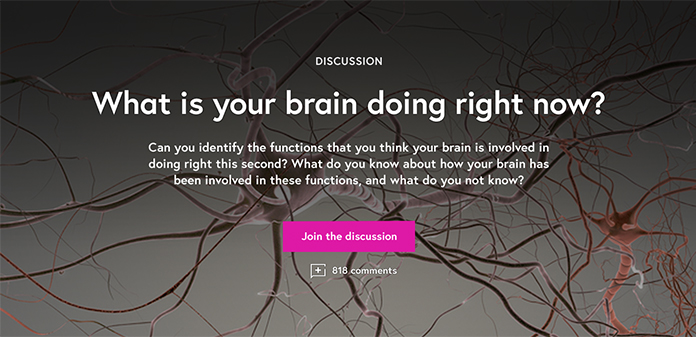 Screenshot of a module inviting learners to take part in a discussion on brain activity.