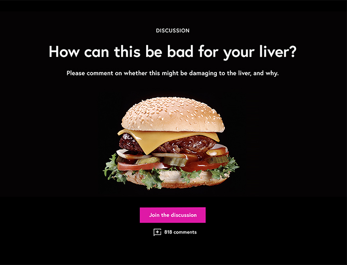 Screenshot of a billboard component with an image of a hamburger inserted between the headline and the call to action.