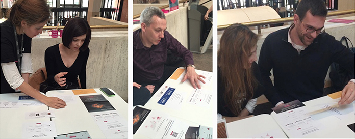 Three photographs of users reacting to large paper printouts of modules.