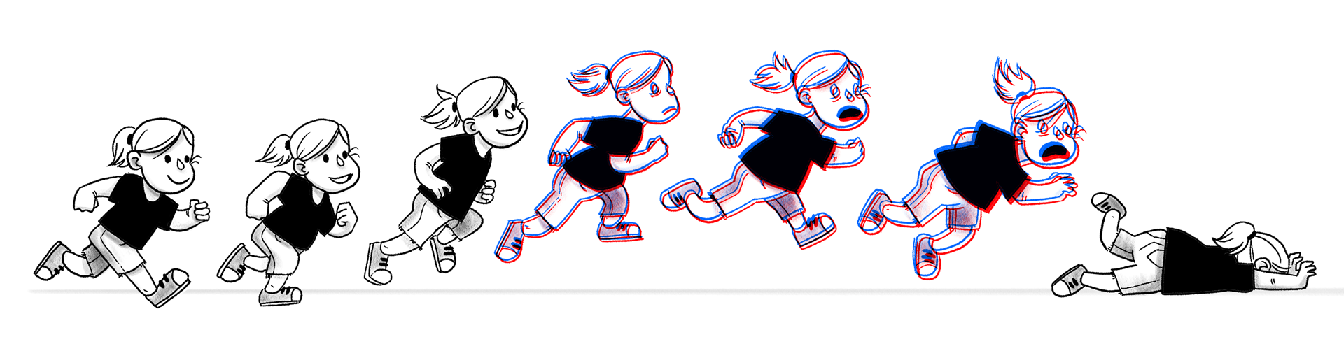 Illustration of a person running, jumping, and falling