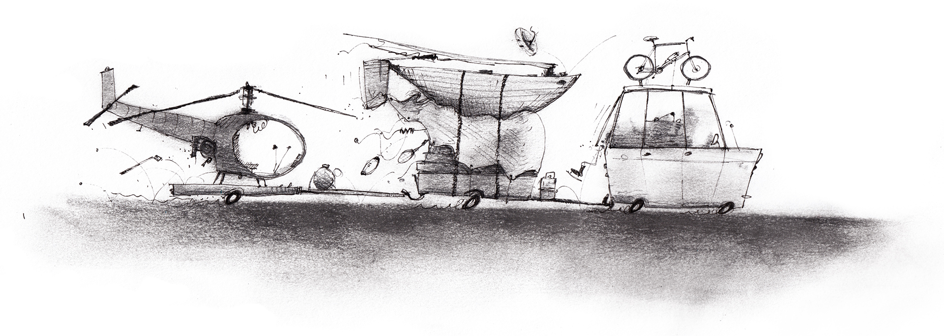 Illustration of a small car towing multiple overloaded trailers of vacation equipment.