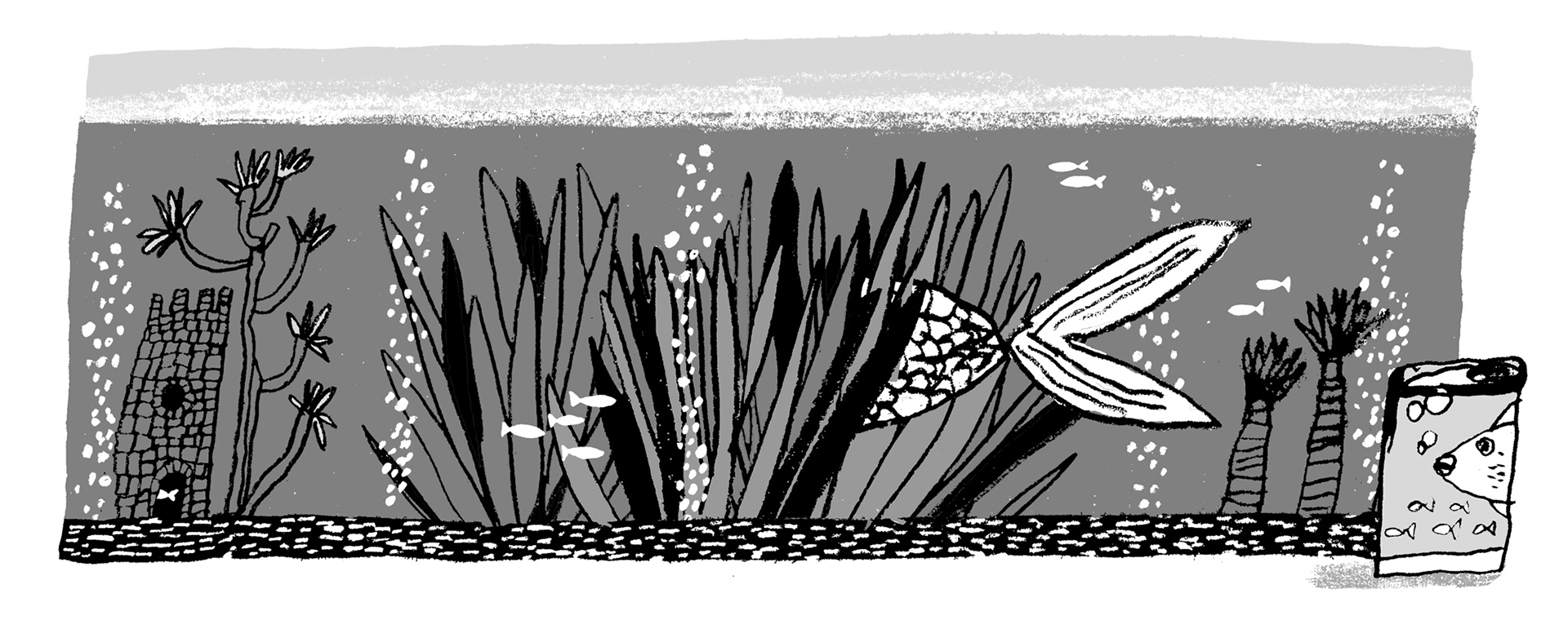 Illustration of a shy fish hiding in a large fish tank.