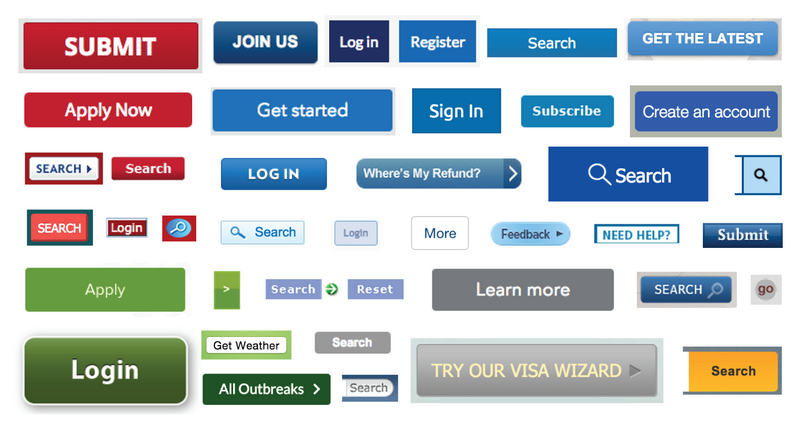 Screenshot showing a wide range of button designs and styles from government websites.