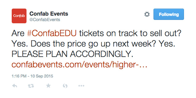 Screenshot of a tweet from Confab Events advertising ticket prices with a link to purchase tickets.