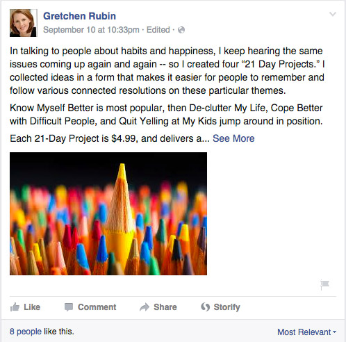 Screenshot of a Facebook post by writer Gretchen Rubin, showing that the post is cut off with a 'see more' link.