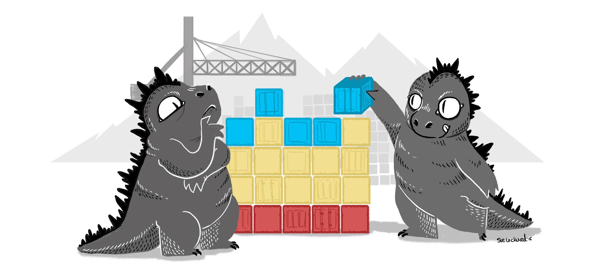 Dinosaurs setting up blocks.