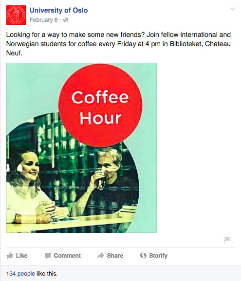 Screenshot of a Facebook post from the University of Oslo advertising a student event with no link to additional content.