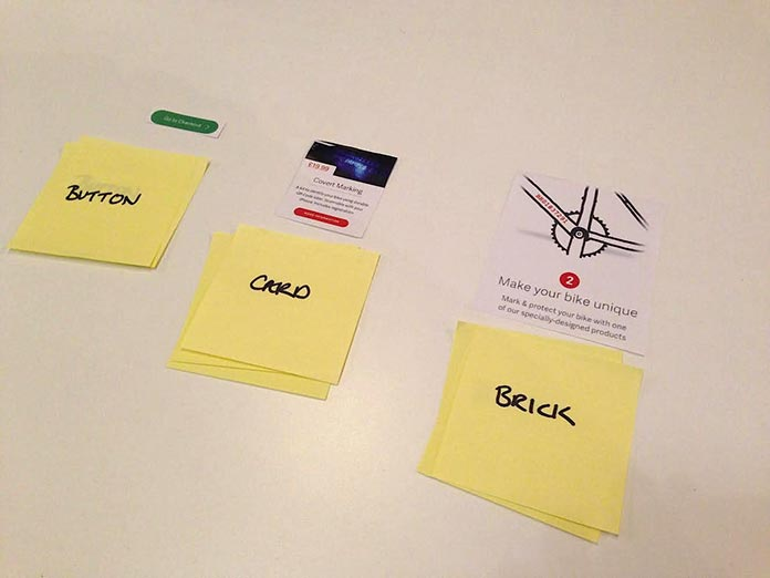 Three larger components labeled with suggested names on Post-it notes.