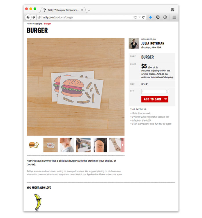 Screenshot from Tattly's responsive ecommerce site, showing a two-column grid on wider screens.
