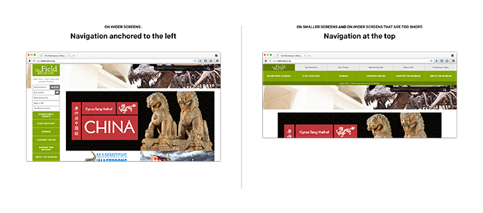 Screenshot of the Field Museum's responsive navigation in narrow and wide widths.